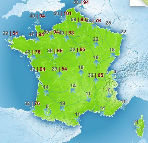 Carte Météo France pour jeudi 14 matin