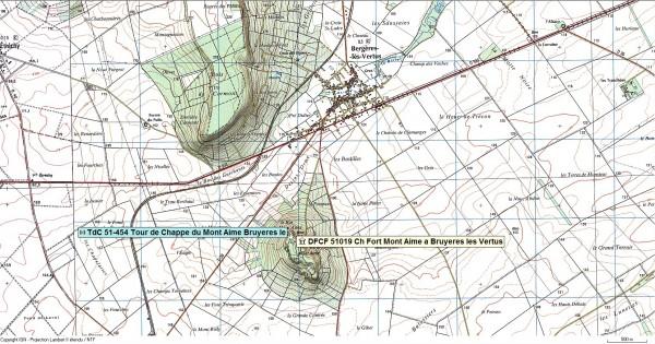 TdC du Mont Aimé TdC 51-454 et DFCF 51019 Vestiges du Château Fort de Bergères lès Vertus