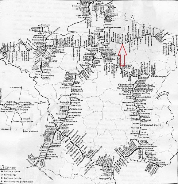 carte du réseau Chappe